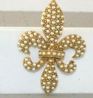 Vintage SIGNED ART Gold Tone Faux Pearl Fleur de Lis Brooch Art Pepper