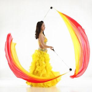 Smooth Silk Veil Poi Balls Set Belly Dancing Yoga Accessory 78 x 27inch Red