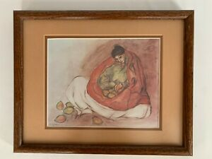 """""""Woman with Pears"""" Vintage Print by RC Gorman 1977 Matted Framed NON-smoking"""