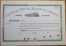 Central Trunk Railway Company 1880 Railroad Stock Certificate - Pennsylvania PA