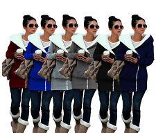 Womens Zip Up Long Sleeve Hoodie Cross Style Sweatshirt Jumper Coat Jacket Hoody