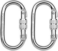 Screw Lock Oval Carabiners 2 Pack 25KN Clip Hook Heavy Duty Scaffold Climbing
