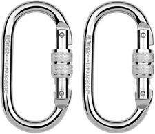 Screw Lock Oval Carabiners 2 Pack 25KN Clip Hook Heavy Duty Scaffold Climbing