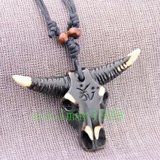 Cool boy man's Tibetan style Bull head skull Pendant Necklace RH247