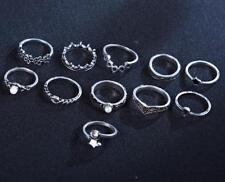 Vintage Silver 11PCS Boho Ring Set Star Midi Finger Knuckle Rings Jewelry