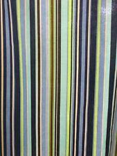Garnet Hill Cotton Shower Curtain Blue Green Stripes Grommets 71 X 70