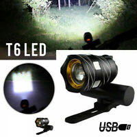 15000LM USB Rechargeable T6 LED ZOOM Front Head Bike Bicycle Light&Tail Lamp Set