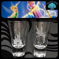 Personalised Tinkerbell & Disney Castle Pair Of Shot Glasses Hand Engraved Gift!