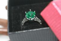 Sterling Silver 2.75 ctw Genuine Round Green Topaz Women's Filigree Ring Sz 6.25