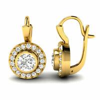 2CT Round SolitaireBezel Moissanite Diamond Earrings Drop 14k Yellow Gold  Women
