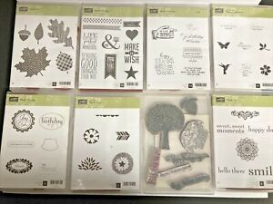 HUGE Lot of 8 sets Stampin Up STAMPS Wonderfall HAPPY DAY Petal Parade MORE