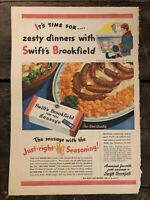 RARE Vintage 1945 Swift's Brookfield Pork Sausage AD WWII Pre-War Quality 11x15