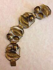 Vtg Art Nouveau 3D Repousse Gilt Brass Flower Bud Bookchain Bracelet-Estate