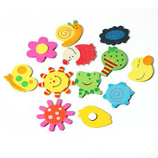 12Pcs Set Baby Kids Wooden Cartoon Animal Fridge Magnet Child Educational Toy A