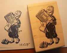 "P14 School girl Vintage clipart Rubber Stamp 2.4x1.5"" WM"