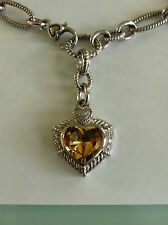 JUDITH RIPKA 7 CARAT CITRINE HEART ENHANCER STERLING SILVER CHAIN NECKLACE