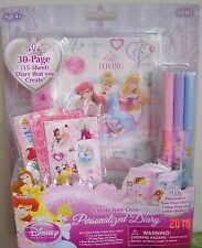 New Disney PRINCESS personalized Diary Create your own Ages 4+ STICKERS Markers