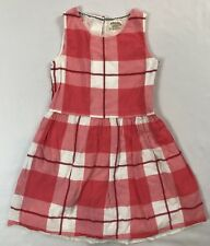 Johnnie B Girls Size 9-10 Years Pink Coral Plaid Sleeveless Lined Cotton Dress