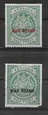 ANTIGUA ,1916/18, WAR TAX , SET OF 2 STAMPS O.P. , PERF , VLH