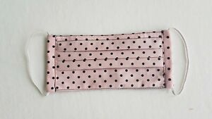 Handmade Pleated Face Mask Pink Polka Dots Unisex Reversible Washable Reusable
