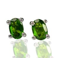 925 Sterling Silver 6x4 MM Oval Natural Chrome Diopside Gemstone Stud Earring