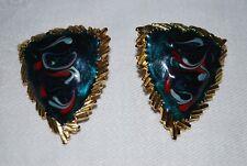 MINT Vintage Enamel Swirl Earrings Gold Tone & Purple & Gray