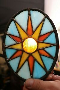 Handmade Sunshine Stained Glass Oval Hanging Sign Window Decor Ornament 7 in