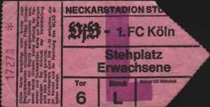 3038 Ticket BL 78/79 VfB Stuttgart - 1. FC Köln, 02.06.1979