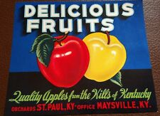 Delicious Fruits Apple CRATE LABEL St. Paul Maysville KY VINTAGE ADVERTISING