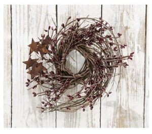 "Burgundy Pip Berry & Star Twig Wreath 8"" - Primitive Rustic Farmhouse Country"