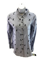 NEW Karl Lagerfeld Women's Blue Sunglasses Print Button Up Blouse Sz M