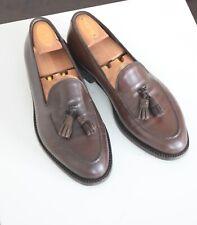 Ermenegildo Zegna Couture Dark Brown Tassel Leather Loafers Men's Shoes 8 EE UK