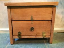 VTG Rustic Jewelry Chest Trinket Storage Box Hardwood Hand Crafted Brass Hinges