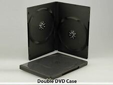 10 x Double DVD Case Cases 14mm Spine Storage Black Front Cover Sleeve 2 Way