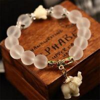 Bracelet stories Elephant Natural Matte Crystal Beads Elephant & Buddha Bracelet