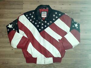 Flag Leather Jacket Michael Hoban Wheremi Stars And Stripes Size Medium. Vintage