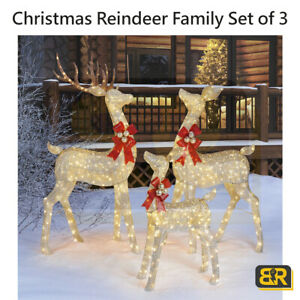 Reindeer Family Set of 3 For Indoor Outdoor with LED Lights 76 Inches Xmas Decor