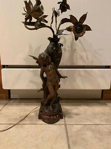 """Auguste Moreau Art Nouveau  Bronze 20""""  Post Lamp"""