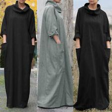 ZANZEA Women Turtleneck Long Maxi Dress Kaftan Full Length Shirt Dress Plus Size
