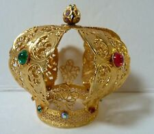 Gold Ormolu Filigree Jeweled Doll Crown Infant of Prague Very Sturdy