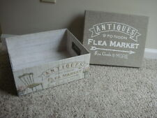 Hard cardboard storage display box script writing floral cottage french country