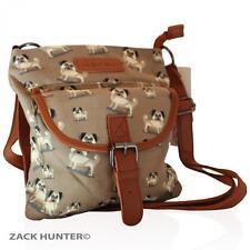 NEW LADIES SMALL MESSENGER BAG GIRLS TRAVEL BAGS HANDBAG IN CUTE PUG DESIGN 7636