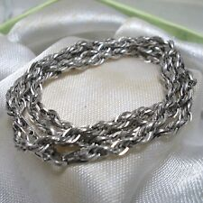 """14K White Gold Rope Chain Necklace Lobster Claw BBB Peru 18"""" 2.5mm Lovely!"""