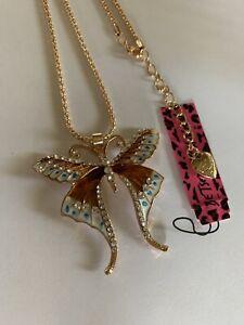 Betsey Johnson GOLD Rhinestone Enamel Butterfly Pendant Necklace-BJ67045