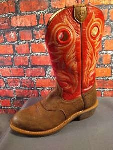 EUC women's ARIAT red & brown WESTERN / COWBOY BOOTS - size 8 B / BARELY WORN !!