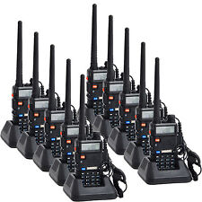 10 Pack Baofeng UV-5R VHF/UHF Dual Band FM Ham Two Way Radio Walkie Talkie