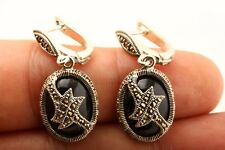 Brilliant! Superior Handmade Jewelry Onyx Marcasite 925 Sterling Silver Earrings