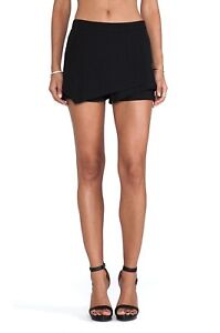 ANTHROPOLOGIE Sanctuary Shorts Skirted Overlay Lined Back Zip Polyester Black S