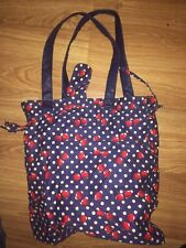 WOMENS 30X30CM BLUE SPOTTED TWO HANDLED TOTE/SHOPPING BAG (EX COND)