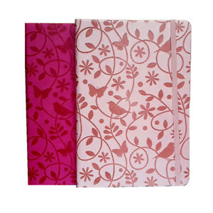 A5 Notebook 200 Pages Emboss PU Faux Leather Semi - Hard Cover Rounded Corners